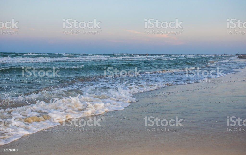 Padre island Texas Beach Waves crashing on the sand stock photo