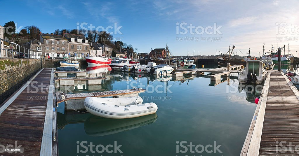 Padstow harbor panorama in Cornwall. stock photo