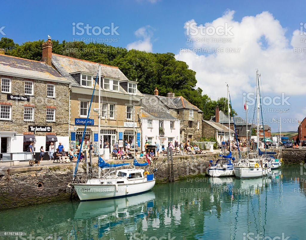 Padstow harbour - busy in summer stock photo