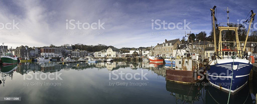 Padstow harbour panorama in Cornwall. stock photo