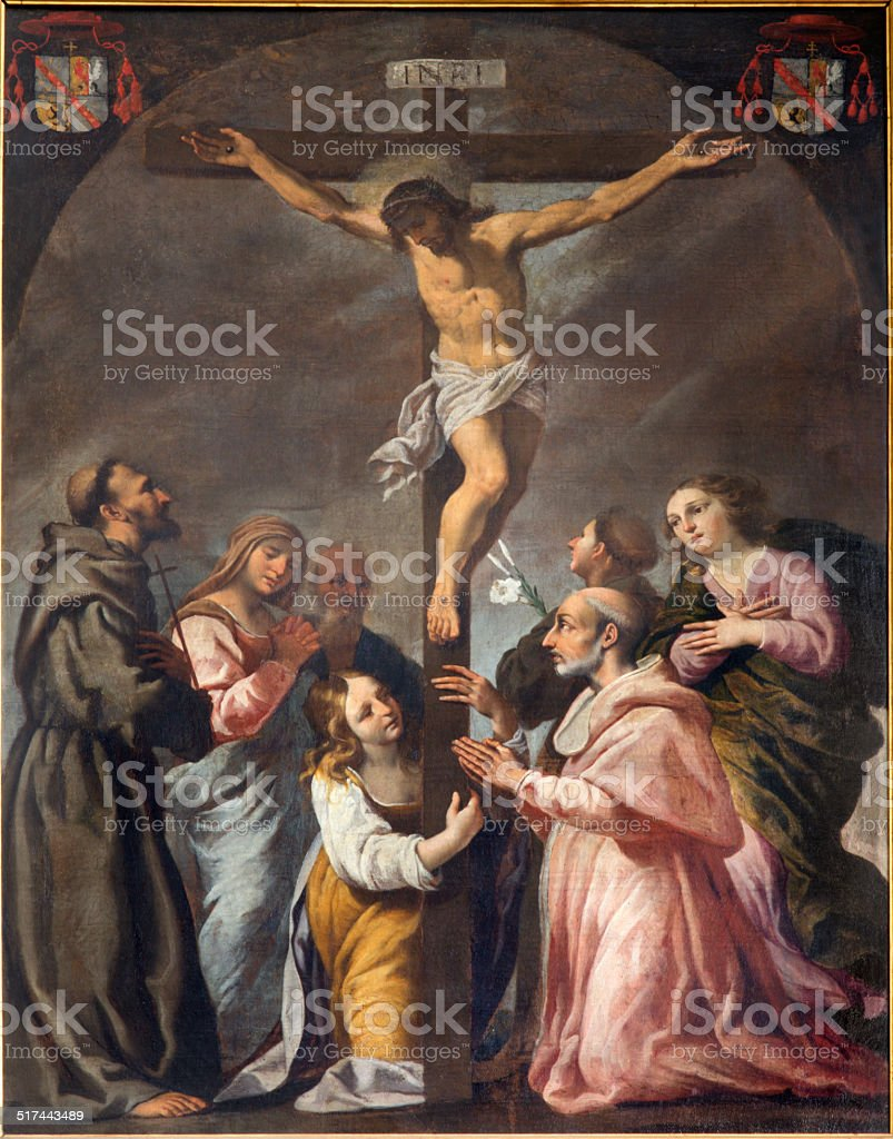 Padua - Crucifixion and the saints painting in Duomo stock photo