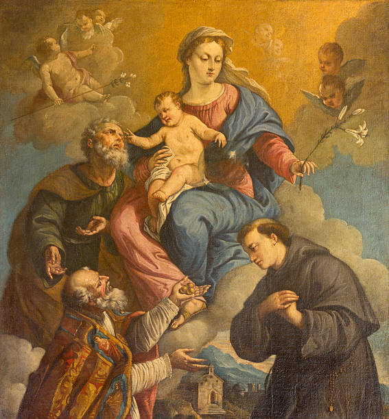 Padua - Holy Familym, saints Nicholas and Anthony Padua - The Holy Family and saints Nicholas and Anthony of Padua by unknown painter of 18. cent in the church of st. Nicholas. st. anthony of padua stock pictures, royalty-free photos & images
