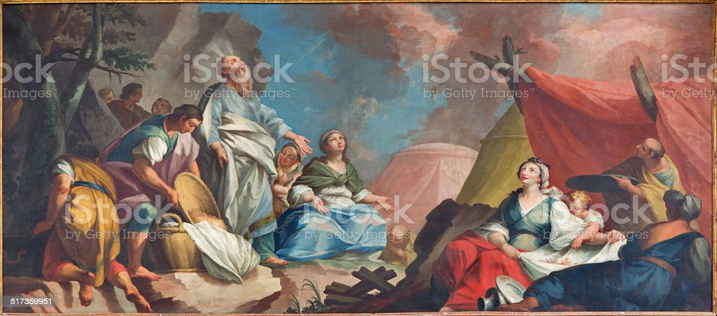 Padua - Moses and the Israelites Gathering of Manna stock photo