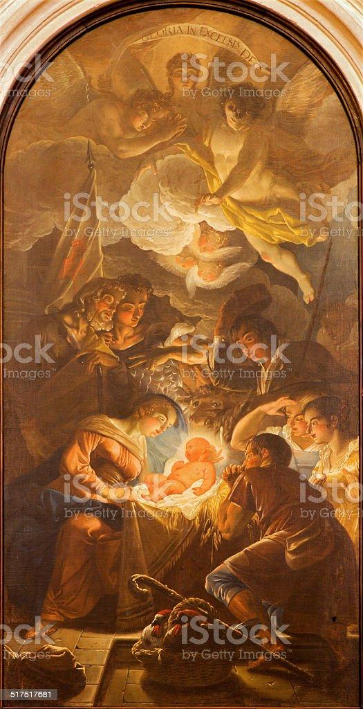 Padua - The Adoration of Shepherds in Torresino church. stock photo