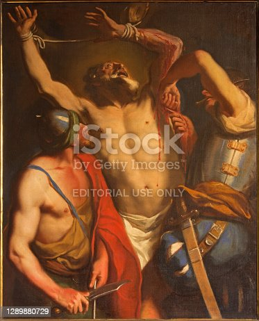 istock Padua - The Martyrium of Saint Bartholomew the apostle by unknown painter of 18. cent. in the little chapel on Piazza del Santo. 1289880729