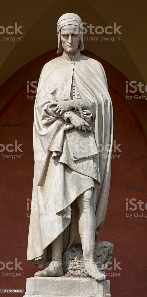 Padua - The statue of Dante Alighieri in Lodge Amulea stock photo