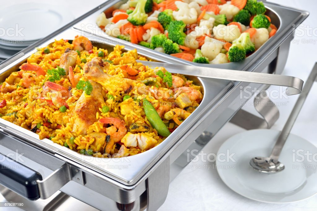 Paella and vegetables royalty-free stock photo