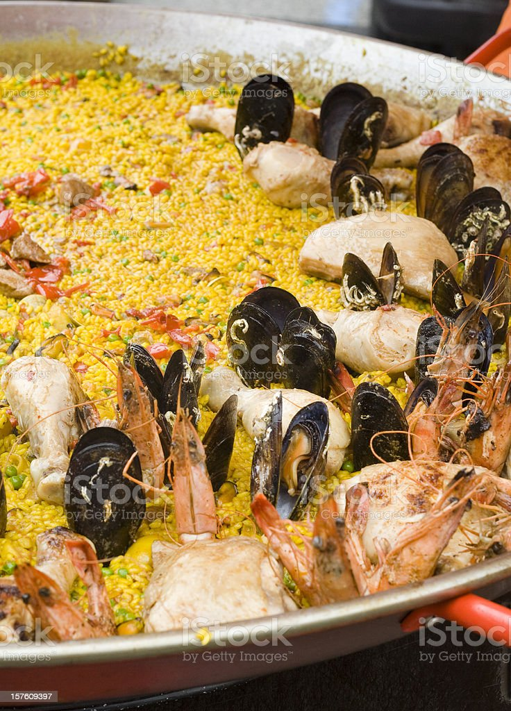 Paella in a Large Pan royalty-free stock photo