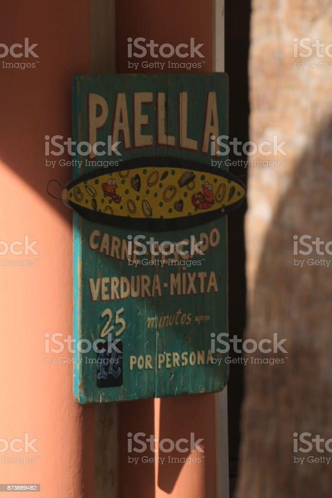 Paella sign stock photo