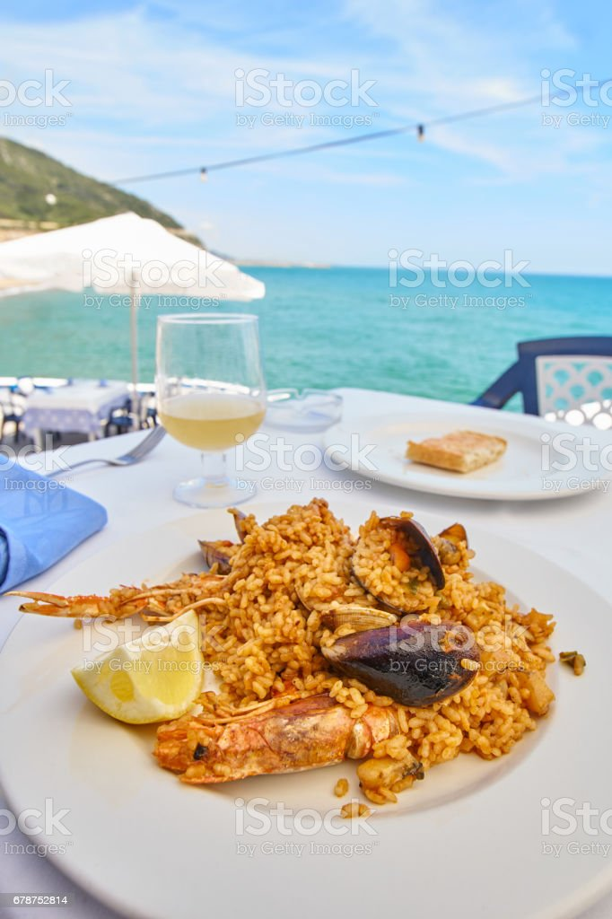 Paella with shrimps and mussels - Sitges stock photo