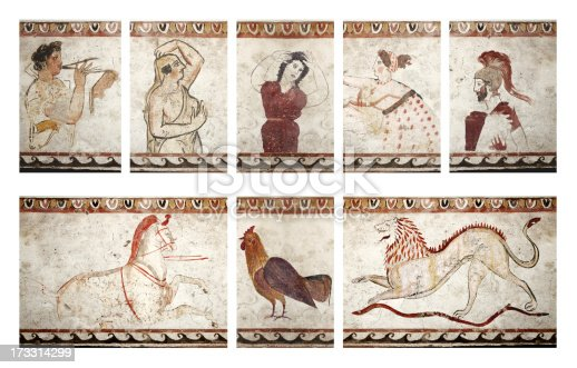 Composition of funerary paintings found in  sarcophagus near Paestum, major Graeco-Roman city in the Campania region of Italy.