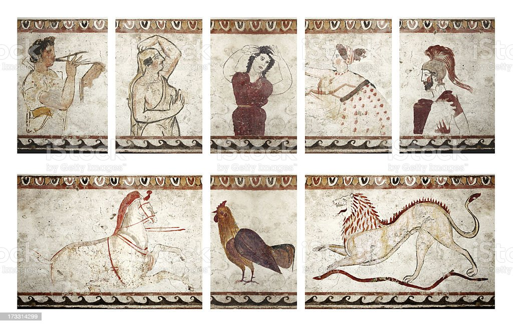 Paestum funerary paintings stock photo