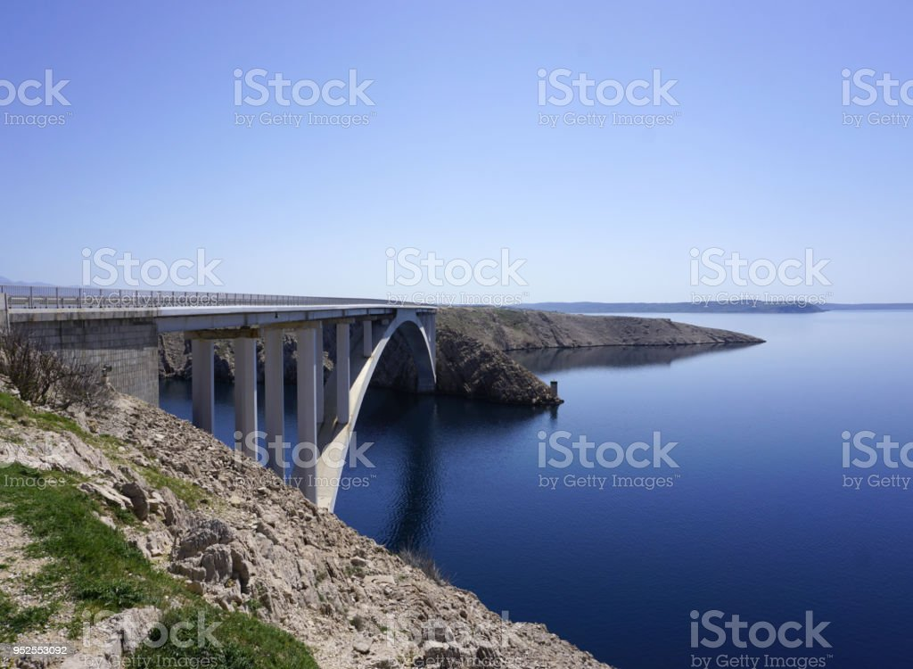Pag bridge, the bridge connecting the Island of Pag with the mainland in the Dalmatian, Croatia stock photo