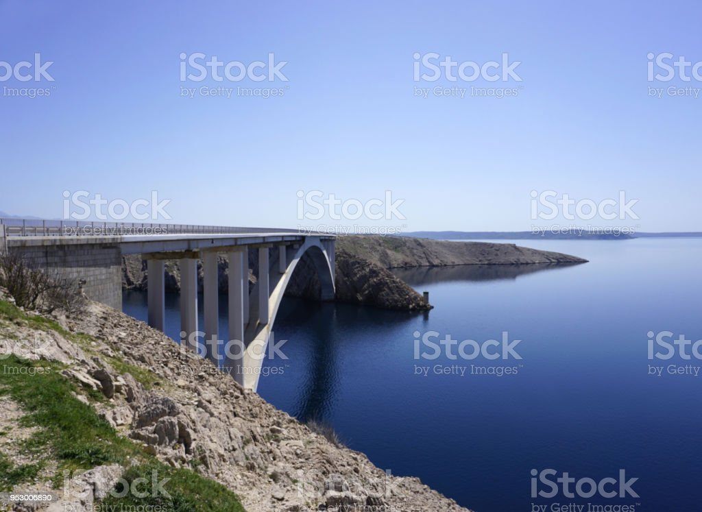Pag bridge, the bridge connecting the Island of Pag with the mainland in the Dalmatia, Croatia stock photo