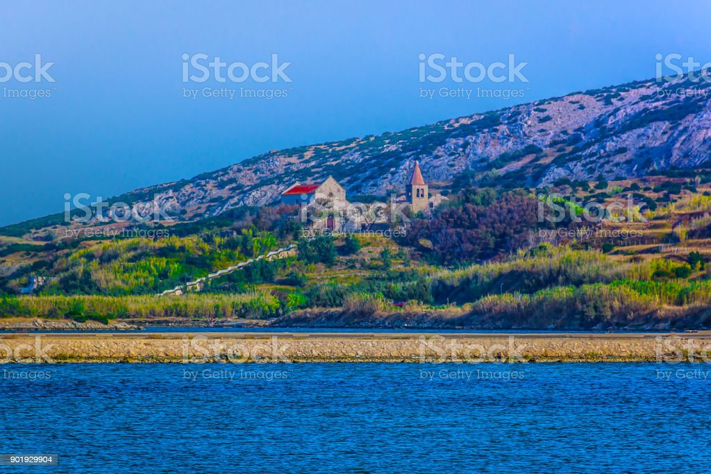 Pag island countryside landscape. stock photo