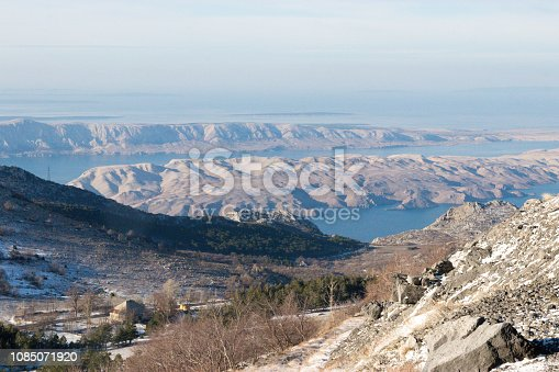 Pag island from Velebit in winter