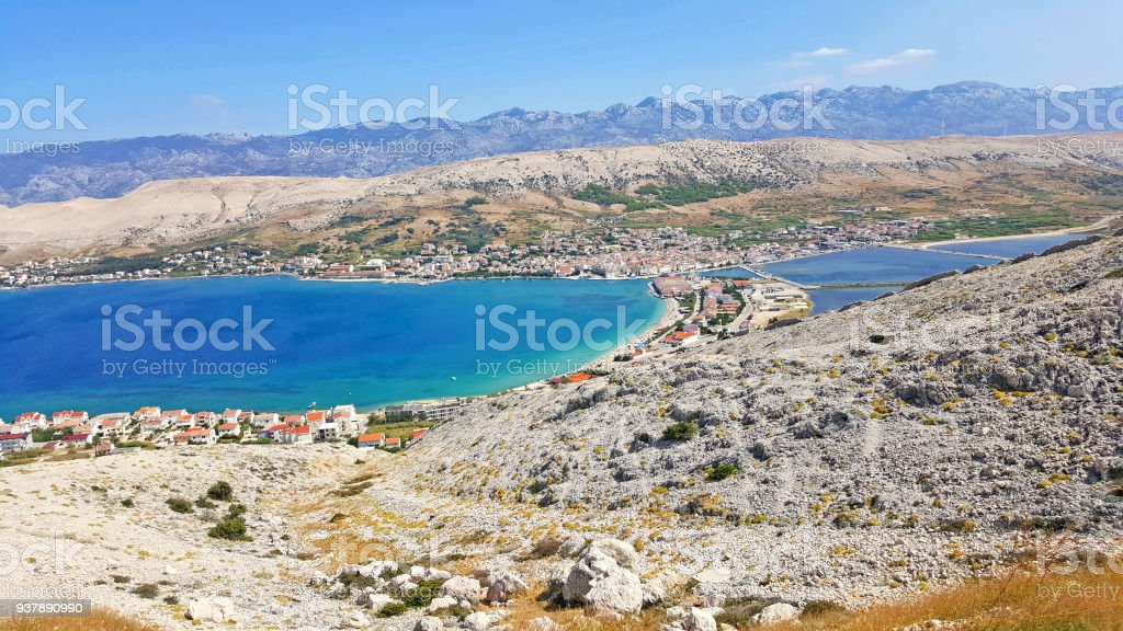 Pag town, the largest town on the island stock photo