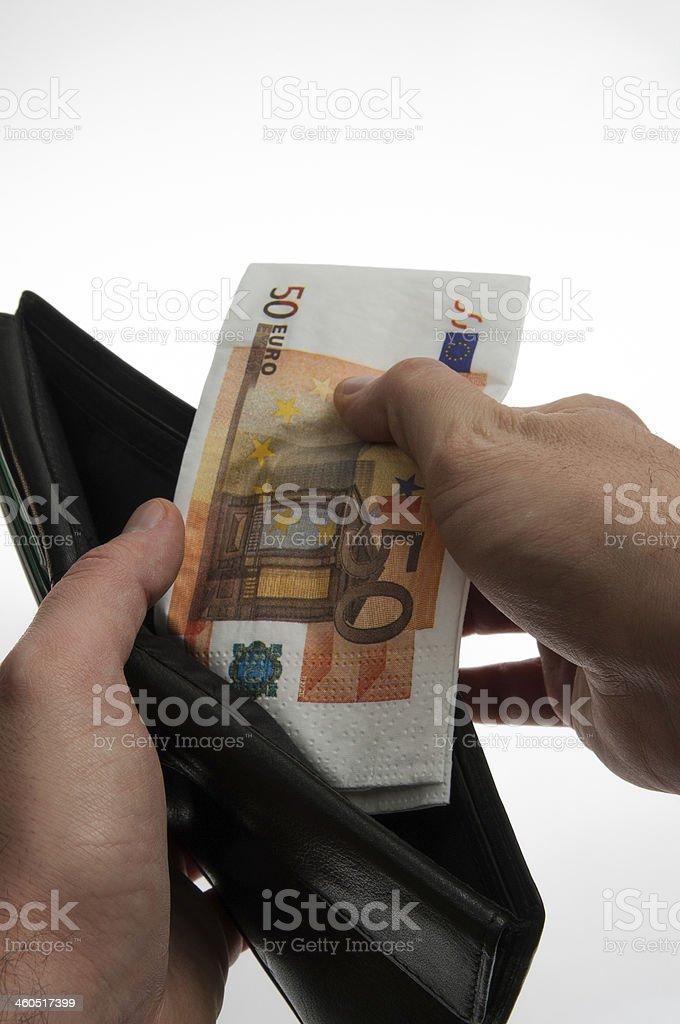 Pagamento in contanti. banconote Euro stock photo