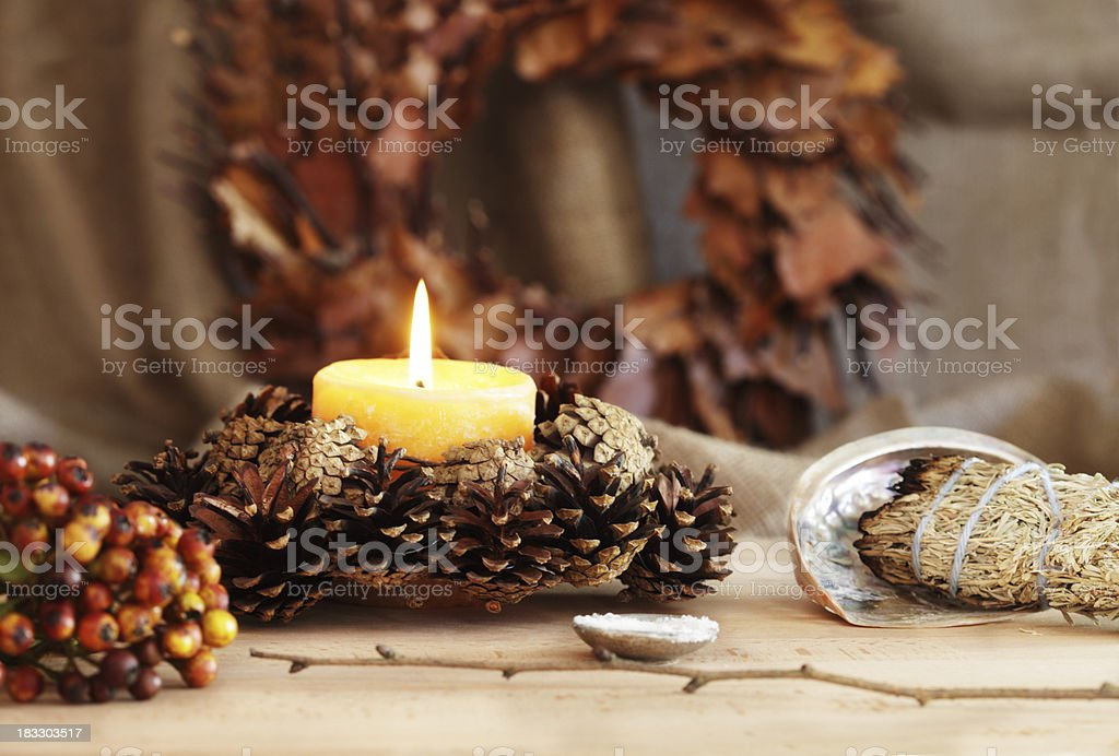 Pagan Altar Decorated for Samhain royalty-free stock photo