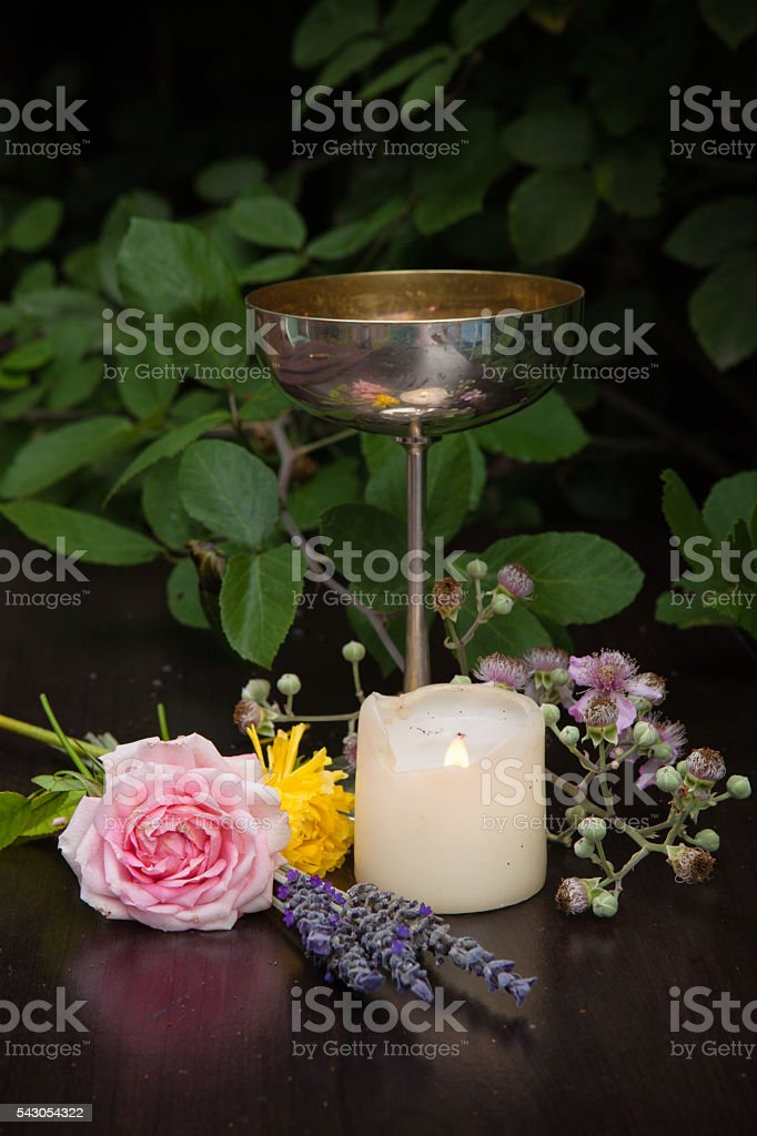 Pagan Altar for Early Summer stock photo