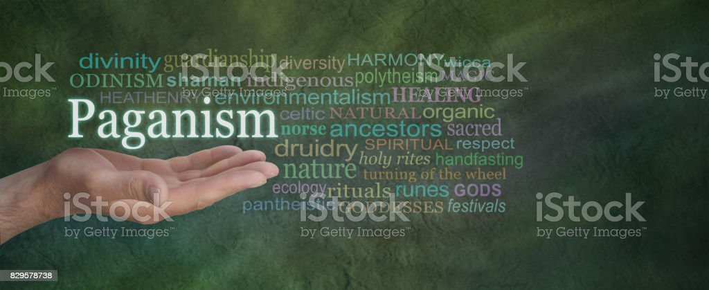 Paganism Word Cloud stock photo