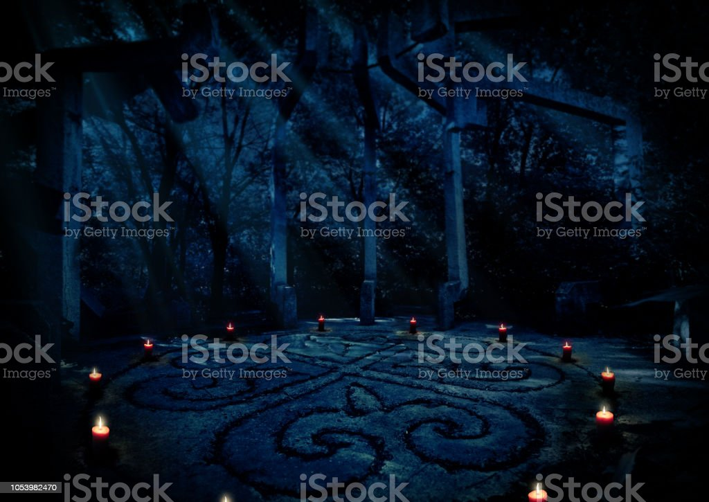 Paganist temple in night forest stock photo