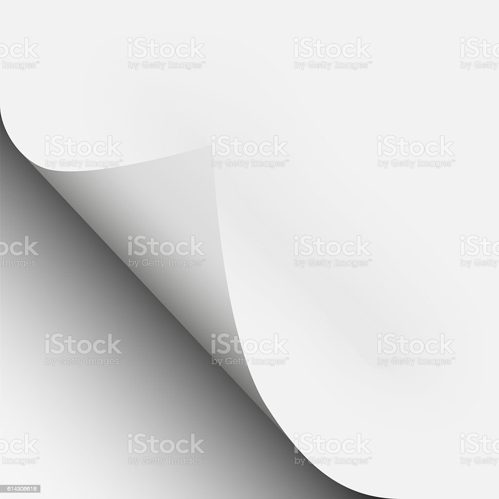 Page curl with shadow on a blank sheet of paper stock photo