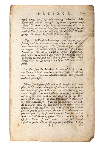 Page from old antique book, The Preface, That the English Langauge is as copious.  18th Century.