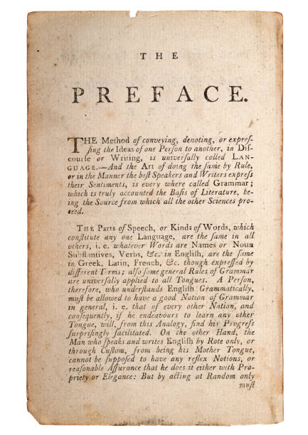 Page from old antique book, The Preface, Kinds of Words stock photo