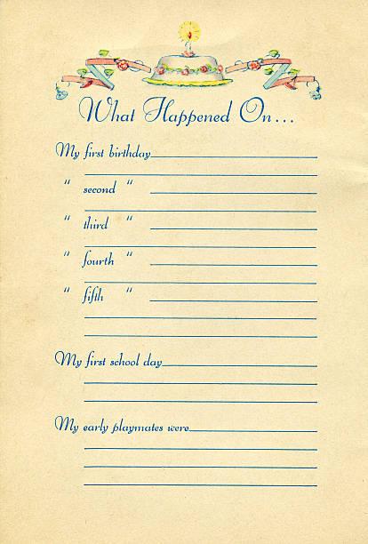 Page de livre Vintage bébé - Photo
