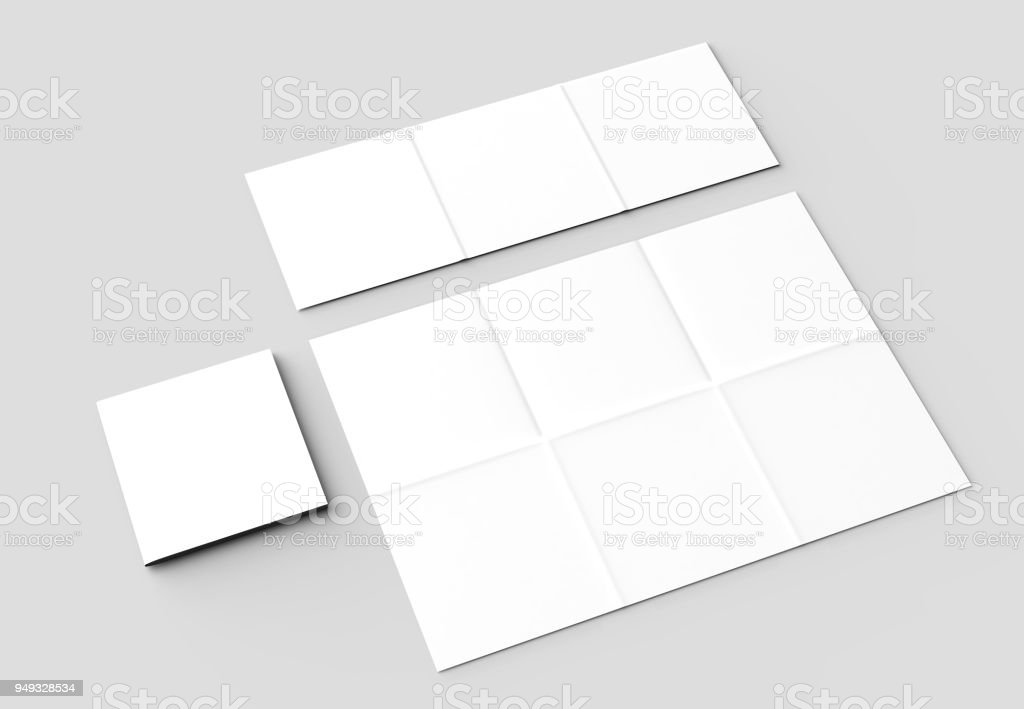 12 page leaflet french fold square brochure mock up isolated on soft