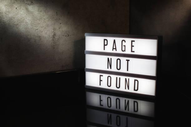 seite nicht gefundene nachricht - fehlermeldung stock-fotos und bilder