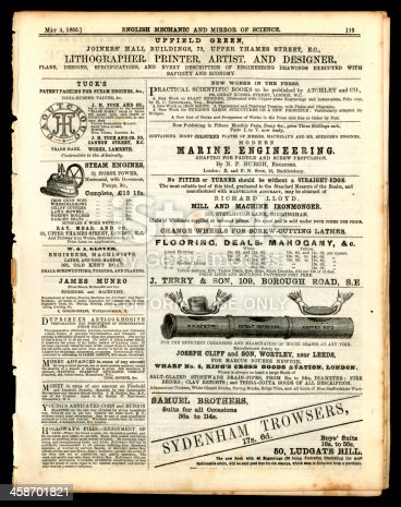 1070355804 istock photo Page of advertising from English Mechanic, May 1866 458701821