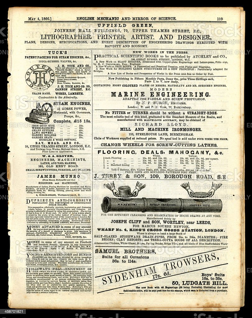 Page of advertising from English Mechanic, May 1866 stock photo