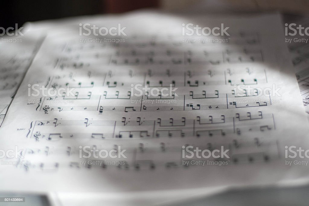 page of notes close up stock photo