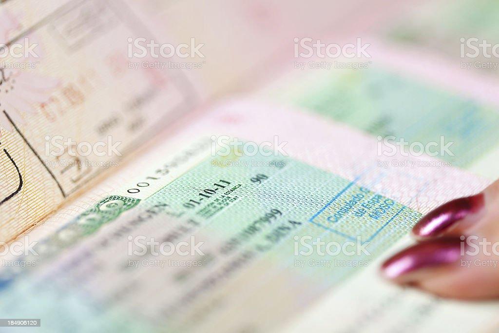 Page of passport stock photo