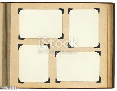 istock Page of vintage photo album, with photo frames 479516388
