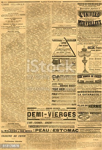1070355804 istock photo Page with advertisements from a French journal 513129876