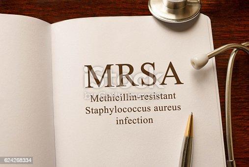istock Page with MRSA (Methicillin-resistant Staphylococcus aureus infection) 624268334