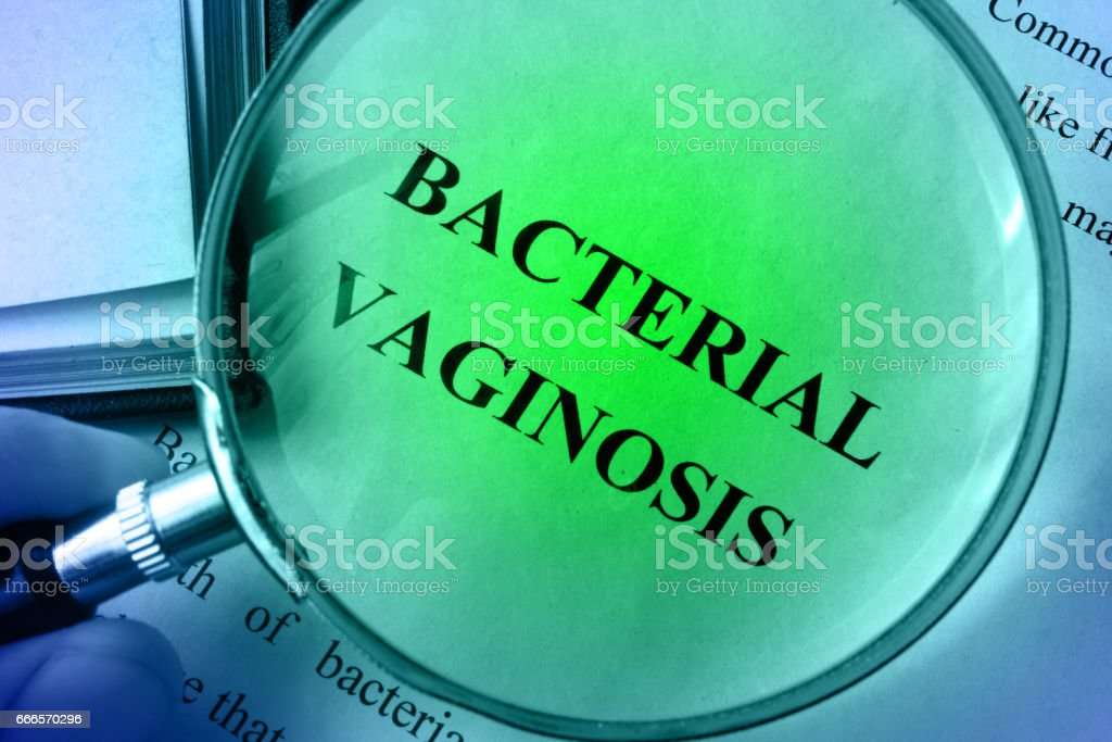 Page with title Bacterial vaginosis on a table. stock photo