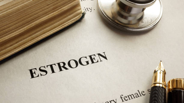 Page with title estrogen and book. Human hormones. Page with title estrogen and book. Human hormones. oestrogen stock pictures, royalty-free photos & images