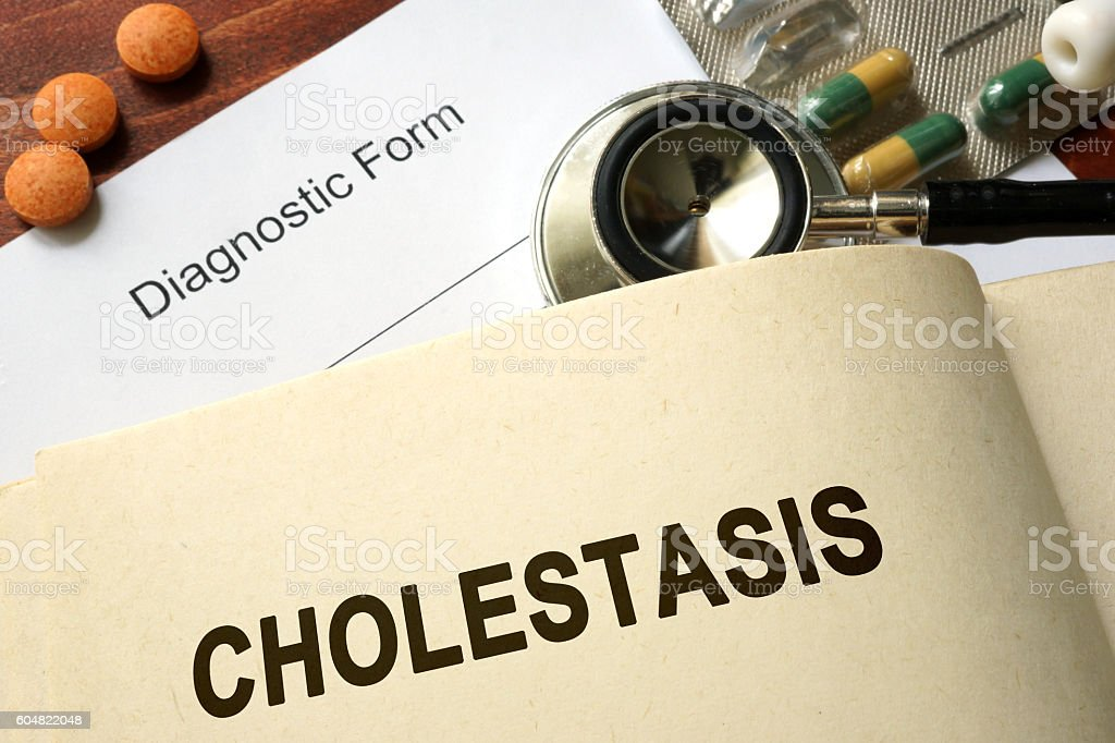 Page with word Cholestasis and glasses. stock photo