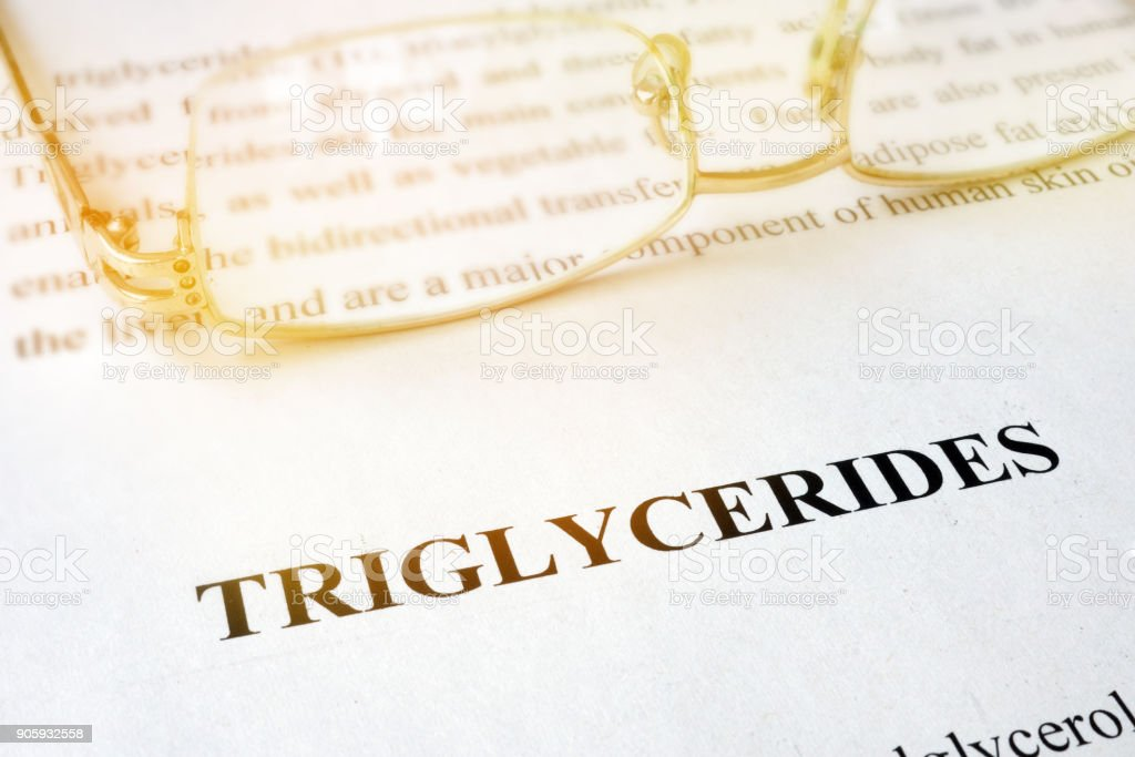 Page with word triglycerides and glasses. stock photo