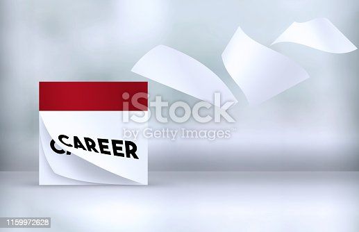 Pages Of A Career Calendar Standing Over Defocused Background Are Flying Away