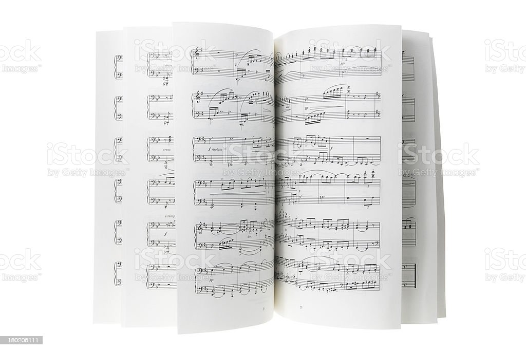 Pages of a musical score displayed artistically  stock photo