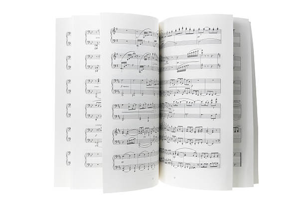 Pages of a musical score displayed artistically  Music Score on White Background sheet music stock pictures, royalty-free photos & images