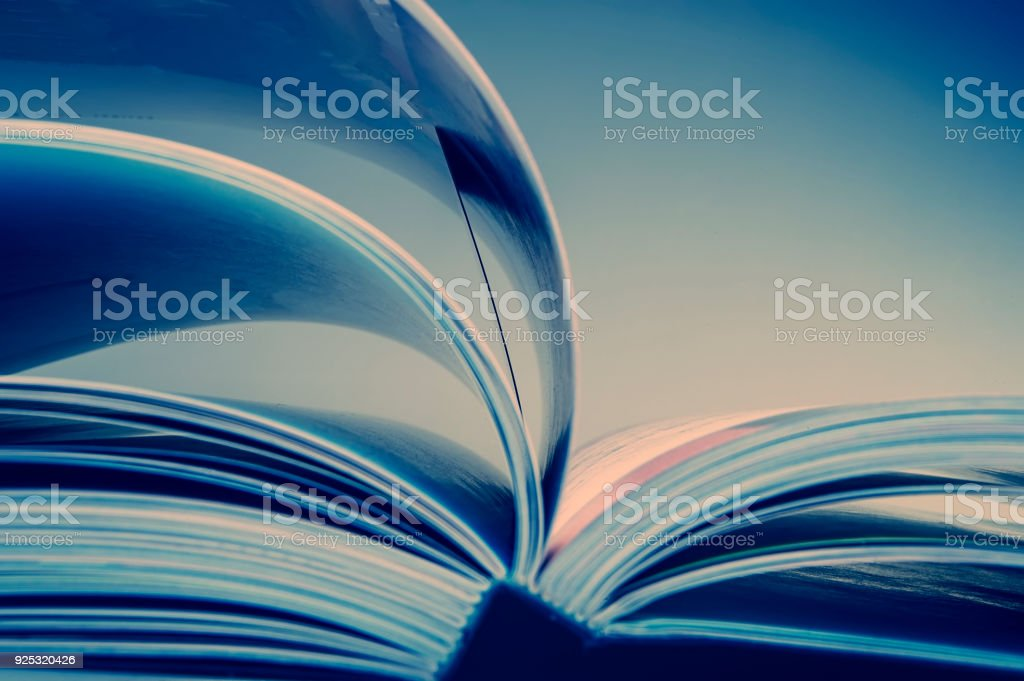 pages of an open book. Blue tonality of the image. stock photo