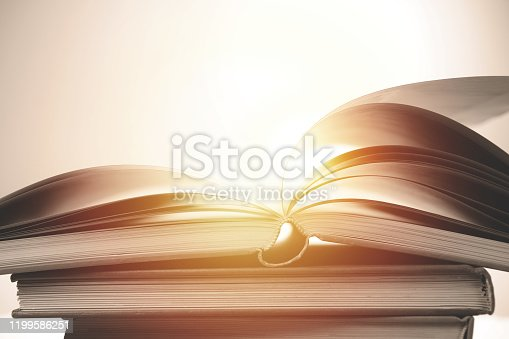 Pages of Open Book with Backlit Lighting.