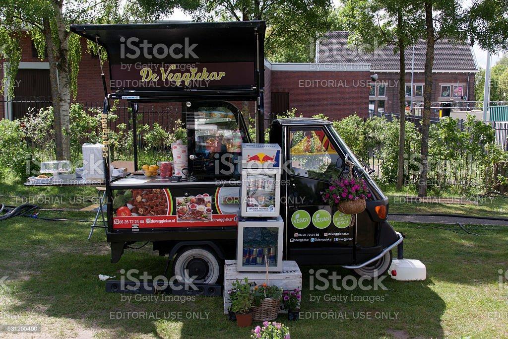 Paggio Ape Veggie Food Truck In Amsterdam Royalty Free Stock Photo
