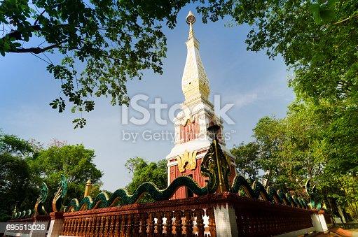 istock Pagoda against blue sky background. 695513026